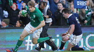 Andrew Trimble of Ireland scores a try during RBS Six Nations match between Ireland and Scotland