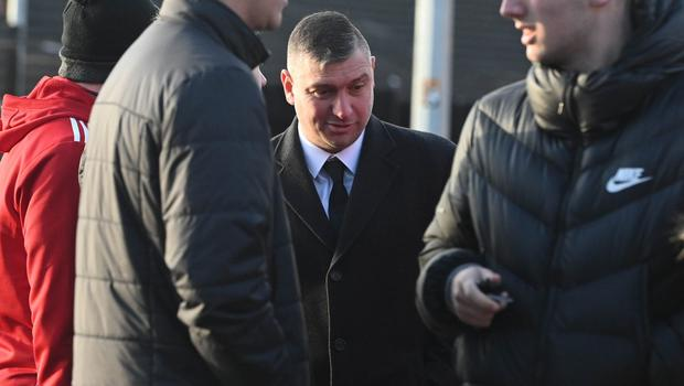 Pacemaker Press 14/12/19 Portadown  Manager Mathew Tipton   during The Funeral of Irish League Footballer Jerry Thompson at Sacred Heart Church  in Belfast. The north Belfast man passed away suddenly on Tuesday. A popular figure in local football, Jerry also played for Portadown, Larne, Donegal Celtic and Clifonville Olympic. Pic Colm Lenaghan/Pacemaker