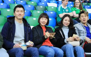 Pacemaker Belfast 24-3-18 Northern Ireland v South Korea - International Friendly South Korea supporters before today's game at the National Stadium, Belfast.  Photo by David Maginnis/Pacemaker Press