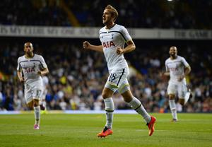 Harry Kane of Spurs celebrates scoring their first goal during the UEFA Europa League Qualifying Play-Offs Round Second Leg match