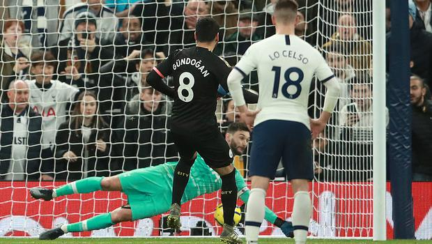 Manchester City's Ilkay Gundogan has his penalty saved by Tottenham goalkeeper Hugo Lloris (Adam Davy/PA)