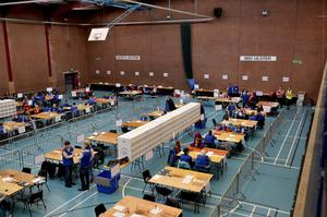General views of the election count at Seven Towers Leisure Centre Ballymena for North Antrim and Mid Ulster. Photo by Stephen Hamilton  / Press Eye.