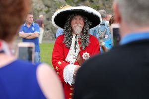 Press Eye - Belfast - Northern Ireland  - 13th July 2017 -   Brian Dawson dressed as King William takes part in the re-enactment of the Siege of Carrickfergus Castle and the landing of King William at Castle Green, Carrickfergus. The event included re-enactment groups from across the Northern Oteland, all dressed in period costume followed by a Pageantry parade to meet King William upon his landing at Carrick Harbour.Ê  Photo by Kelvin Boyes / Press Eye.