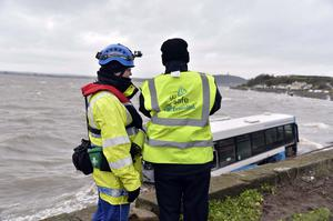 Wednesday  9th December 2015   A bus has landed on a beach after crashing on the Portaferry Road near Newtownards, County Down. Translink said no passengers were on board the bus and no other vehicles were involved.  It said the driver had been taken to hospital to be assessed and an investigation was ongoing.