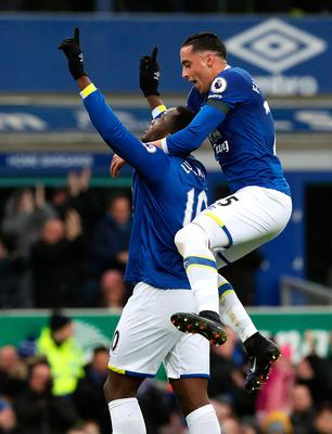 "Everton's Romelu Lukaku celebrates scoring his side's first goal with team-mate Ramiro Funes Mori during the Premier League match at Goodison Park, Liverpool. PRESS ASSOCIATION Photo. Picture date: Sunday January 15, 2017. See PA story SOCCER Everton. Photo credit should read: Peter Byrne/PA Wire. RESTRICTIONS: EDITORIAL USE ONLY No use with unauthorised audio, video, data, fixture lists, club/league logos or ""live"" services. Online in-match use limited to 75 images, no video emulation. No use in betting, games or single club/league/player publications."