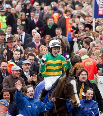 Jockey AP McCoy and Synchronised pictured after winning the Betfred Cheltenham gold cup yesterday. Pic:Mark Condren 16.3.2012