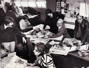 Newsroom following a bomb... Telegraph office.