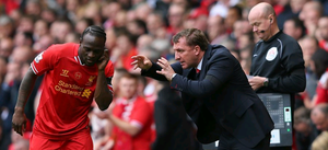 Liverpool Manager Brendan Rodgers gives orders to Victor Moses during the Barclays Premier League match between Liverpool and Manchester City at Anfield on April 13, 2014 in Liverpool, England.  (Photo by Alex Livesey/Getty Images)