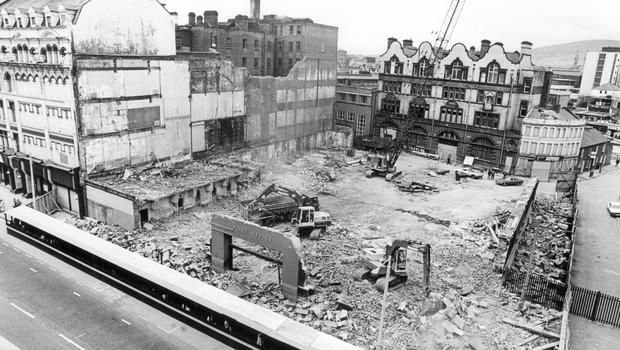 The demolition of the old Post Office, in Royal Avenue, to make way for a new shopping complex.  11/7/1985