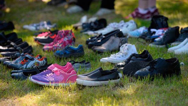 Shoes were left as part of the protest