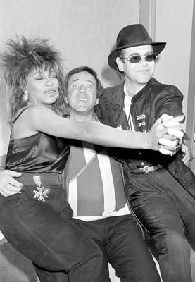Sir Terry Wogan (centre) with his chatshow guests Tina Turner and Elton John in 1985