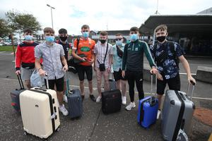 Passengers pictured returning from Palma, Spain at Belfast International airport where face covering are now mandatory for all travellers and a 14 day quarantine has now been imposed. Photo by Matt Mackey / Press Eye.