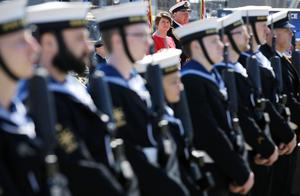 Press Eye - Belfast - Northern Ireland - 31st May 2016 -   HMS CAROLINE MARKS 10,000 IRISH SAILORS IN WW1  HMS Caroline, one of the worldÕs most historically significant war ships, is the focus of a unique commemoration of 10,000 Irish sailors who participated in the First World War on Tuesday May 31.   Moored in Alexandra Dock in BelfastÕs QueenÕs Island the ship which has undergone a major Heritage Lottery Fund-backed restoration programme, joins commemorative events across the UK including Jutland Bank in the North Sea and Kirkwall in Orkney where the British Grand Fleet mobilized ahead of the Battle of Jutland.  Prince Michael Michael of Kent is pictured at the Commemoration of The Irish Sailor and Centenary of Battle of Jutland ceremonies at Alexandra Dock where HMS Caroline is docked.  First Minister Arlene Foster at  the Commemoration of The Irish Sailor and Centenary of Battle of Jutland ceremonies at Alexandra Dock where HMS Caroline is docked.  Photo by Kelvin Boyes / Press Eye