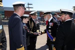 Press Eye - Belfast - Northern Ireland - 31st May 2016 -   HMS CAROLINE MARKS 10,000 IRISH SAILORS IN WW1  HMS Caroline, one of the worldÕs most historically significant war ships, is the focus of a unique commemoration of 10,000 Irish sailors who participated in the First World War on Tuesday May 31.   Moored in Alexandra Dock in BelfastÕs QueenÕs Island the ship which has undergone a major Heritage Lottery Fund-backed restoration programme, joins commemorative events across the UK including Jutland Bank in the North Sea and Kirkwall in Orkney where the British Grand Fleet mobilized ahead of the Battle of Jutland.  Prince Michael Michael of Kent is pictured at the Commemoration of The Irish Sailor and Centenary of Battle of Jutland ceremonies at Alexandra Dock where HMS Caroline is docked.  Photo by Kelvin Boyes / Press Eye