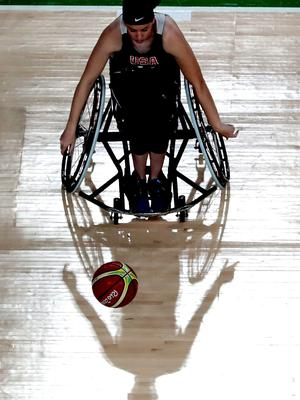 RIO DE JANEIRO, BRAZIL - SEPTEMBER 06: A general view during a Wheelchair Basketball training session at the Olympic Arena ahead of the 2016 Paralympic Games on September 6, 2016 in Rio de Janeiro, Brazil. (Photo by Alexandre Loureiro/Getty Images)