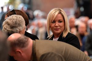 Michelle O'Neill, Vice President of Sinn Fein arrives for the funeral service of journalist Lyra McKee at St Annes Cathedral on April 24, 2019 in Belfast