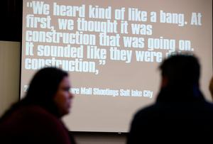 OAKLAND, CA - FEBRUARY 16:  A quote from a person that was witness to an active shooter situation is displayed during an active shooter training for Oakland Unified School District teachers, staff and administrators at Cole Elementary School on February 16, 2018 in Oakland, California. Days after a gunman opened fire and killed 17 students at Marjory Stoneman Douglas High School in Parkland, Florida, teachers and staff with the Oakland Unified School District participated in an active shooter training that discussed strategies on how to deal with active shooter situations in schools. The training had already been scheduled prior to the Florida shooting.  (Photo by Justin Sullivan/Getty Images)
