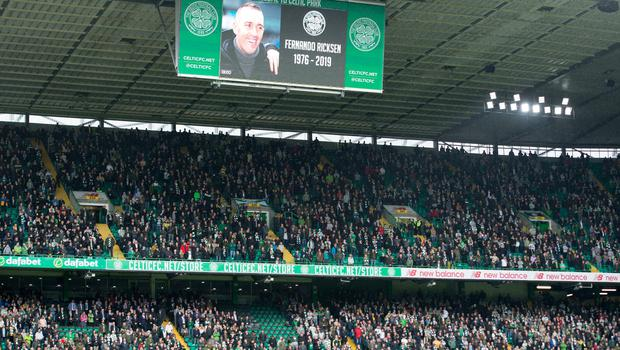 Tribute to former Rangers player Fernando Ricksen before the Ladbrokes Scottish Premiership match at Celtic Park, Glasgow. PA Photo. Picture date: Sunday September 22, 2019. See PA story SOCCER Celtic. Photo credit should read: Ian Rutherford/PA Wire. EDITORIAL USE ONLY