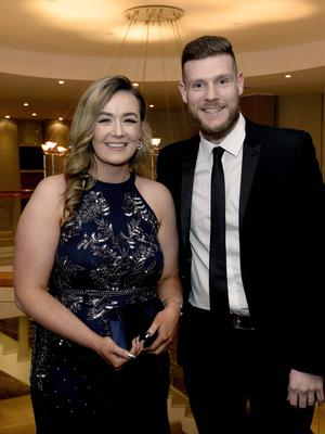 Press Eye - Belfast - Northern Ireland - 20th January  2020  Sarah Adamson and David Hamilton pictured at the 2019 Belfast Telegraph Sport Awards at the Crowne Plaza Hotel in Belfast. Photo by Stephen Hamilton / Press Eye.