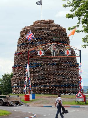 A bonfire in the Ballymacash area of Lisburn.[Photo: Paul Faith/AFP/Getty Images]