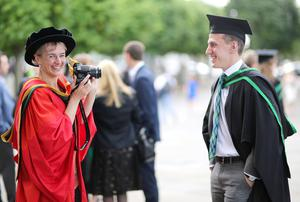 Dr Iseult Wilson (School of Health Sciences) and Tim Liggat from Newtownabbey who graduated from the Ulster University with a degree in BSC Physiotherapy  . Pic by Paul Moane / Aurora PA