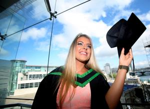 Graduating from Ulster University today is Rebecca Hunter from Markethill, with a degree BSC Hons Public Realtions. Pic by Paul Moane / Aurora PA