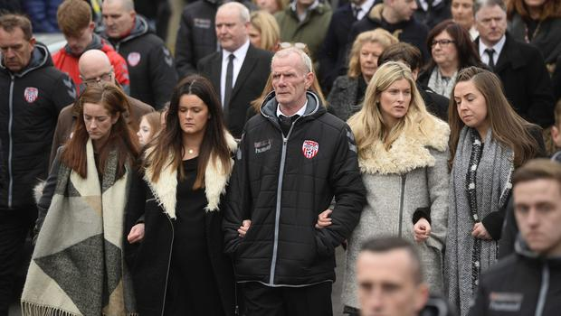 Pacemaker press 23/03/17 The funeral of Ryan McBride has taken place at St Columba's Church in Derry tributes have been paid to Derry City captain Ryan McBride, who died suddenly aged 27.  Picture Mark Marlow/pacemaker