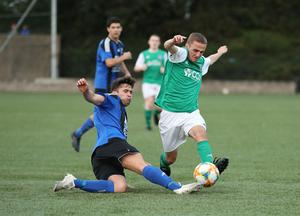 Action from Willowbank's 2-0 win over NFC Kesh in the Junior Cup semi-final at Holm Park.