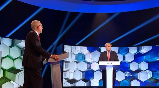 Jeremy Corbyn and Prime Minister Boris Johnson going head to head in the BBC Election Debate in Maidstone (BBC/PA)