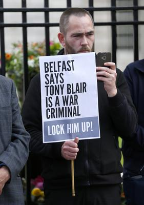 Protest against Tony Blair held outside Belfast City Hall on July 08, 2016 ( Photo by Kevin Scott / Belfast Telegraph)