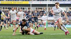 Heineken Champions Cup Round 5, Stade Marcel-Michelin, Clermont-Ferrand, France 11/1/2020 ASM Clermont Auvergne vs Ulster Clermont's George Moala scores a try despite David Shanahan and Jacob Stockdale of Ulster Mandatory Credit ©INPHO/Dan Sheridan