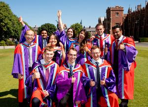 A group of classmates celebrate today each graduating with a Doctor of Philosophy from the School of Mechanical and Aerospace Engineering at Queen's University.