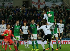 Northern Ireland v Germany - World Cup Qualifier Group C Northern Ireland's Gareth McAuley and Germany's Jerome Boateng during this evening's game at the National Stadium, Belfast.  Photo by David Maginnis/Pacemaker Press