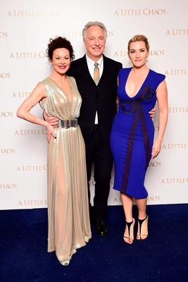 2015: Helen McCrory, Alan Rickman and Kate Winslet attending the UK premiere of the film A Little Chaos at the Odeon Kensington, London. Ian West/PA Wire