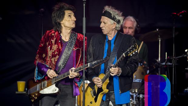 Ronnie Wood, Keith Richards, and Charlie Watts of the Rolling Stones on stage at Croke Park, Dublin for their first night of their 'STONES - NO FILTER' 2018 tour. Thursday 17th May 2018. Credit: Liam McBurney/RAZORPIX