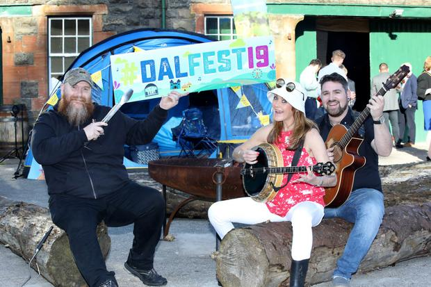 Michael Duffy organiser of the Celtic Smoke International BBQ competition, Kirstie McMurray presenter with festival media partner Cool FM and Downtown Radio and Pauric Mohan from All Folk'd Up.