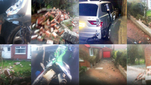 Amazing photos show trail of thugs' destruction – but householder has to pick up the bill even though police officers rammed the thieves