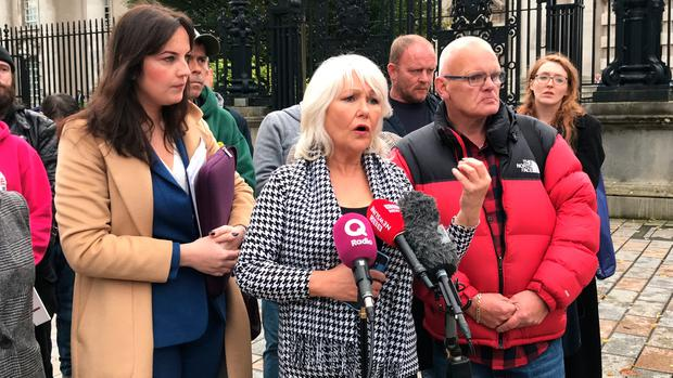 Margaret McGuckin, leader of Survivors and Victims of Institutional Abuse, speaks outside The Court of Appeal in Northern Ireland, as it has ruled that the Executive Office has the power to introduce a compensation scheme for victims of historical institutional abuse.
