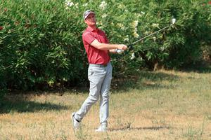 Jonathan Caldwell plays his second shot on the ninth hole during his second round at the Portugal Masters (Andrew Redington/Getty Images)
