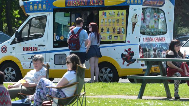 Pacemaker Press 28/05/2018 Enjoying the hot weather at Hazelbank Park in  near Belfast on Bank holiday Monday, which is thought to be the warmest day of the year.  Pic Colm Lenaghan/Pacemaker