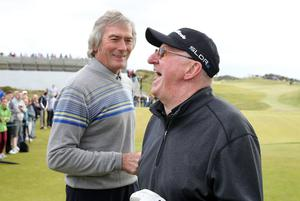 Press Eye - Belfast - Northern Ireland - 27th May 2015? Dubai Duty Free Irish Open at Royal County Down Pro-Am Day Former footballer Pat Jennings, left,  with snooker player Dennis Taylor. Picture by Kelvin Boyes / Press Eye?
