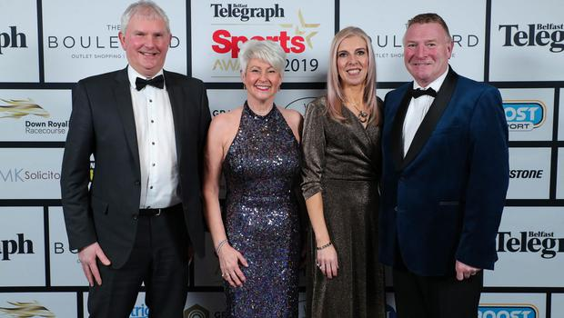 Press Eye - Belfast - Northern Ireland - 20th January  2020   Alan Graham, Pamela Ballantine, Paula Gracey and Jim Gracey pictured at the 2019 Belfast Telegraph Sport Awards at the Crowne Plaza Hotel in Belfast.  Photo by Kelvin Boyes / Press Eye.