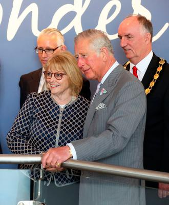 The Prince of Wales with Seamus Heaney's wife Marie during a tour of the new centre in Bellaghy, dedicated to the poet during their visit to Northern Ireland. Liam McBurney/PA Wire