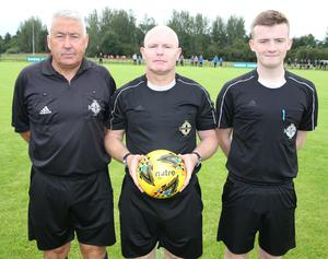 PressEye-Northern Ireland- 29th July  2019-Picture by Brian Little/PressEye Referee team Dungannon United and Ballinamallard United in the Minor section of the STATSports SuperCupNI , at University, Coleraine. Picture by Brian Little/PressEye