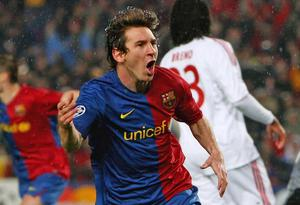 Lionel Messi celebrates one of his two goals against Bayern Munich back in 2009