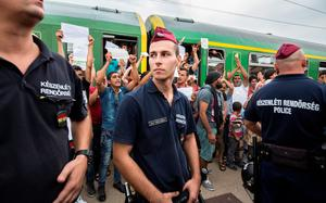 BUDAPEST, HUNGARY - SEPTEMBER 03:  Migrants protest against being taken to a refugee camp from a train that has been held at Bicske station on September 3, 2015 in Bicske, near Budapest, Hungary. Although the station has reopened all international trains to Western Europe have been cancelled. According to the Hungarian authorities a record number of migrants from many parts of the Middle East, Africa and Asia are crossing the border from Serbia. Since the beginning of 2015 the number of migrants using the so-called Balkans route has exploded with migrants arriving in Greece from Turkey and then travelling on through Macedonia and Serbia before entering the EU via Hungary. The massive increase, said to be the largest migration of people since World War II, led Hungarian Prime Minister Victor Orban to order Hungary's army to build a steel and barbed wire security barrier along its entire border with Serbia, after more than 100,000 asylum seekers from a variety of countries and war zones entered the country so far this year.  (Photo by Matt Cardy/Getty Images)