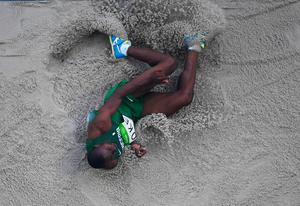 RIO DE JANEIRO, BRAZIL - AUGUST 15:  Tosin Oke of Nigeria competes in the Men's Triple Jump qualification on Day 10 of the Rio 2016 Olympic Games at the Olympic Stadium on August 15, 2016 in Rio de Janeiro, Brazil.  (Photo by Ian Walton/Getty Images)