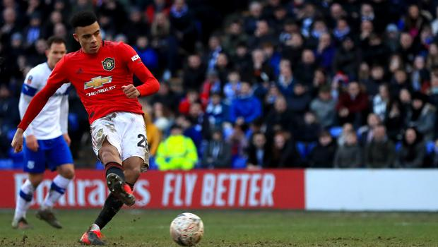 Manchester United's Mason Greenwood slotted home his 10th goal of the season from the penalty spot (Simon Cooper/PA)