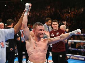 Carl Frampton celebrates defeating Scott Quigg in Saturday nights World Super-Bantamweight unification clash at the Manchester Arena.