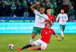 Home comforts: Josh Magennis says playing the second leg of the World Cup play-off at Windsor Park would be a huge advantage to Northern Ireland